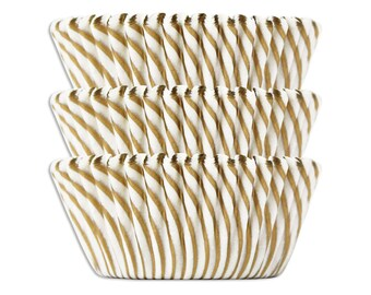 Gold Candy Stripe Baking Cups - 50 metallic gold striped paper cupcake liners