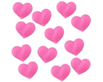 Pink Icing Hearts - pink heart sugars, pink icing heart toppers, pink icing heart cake decorations, pink sugar heart toppers