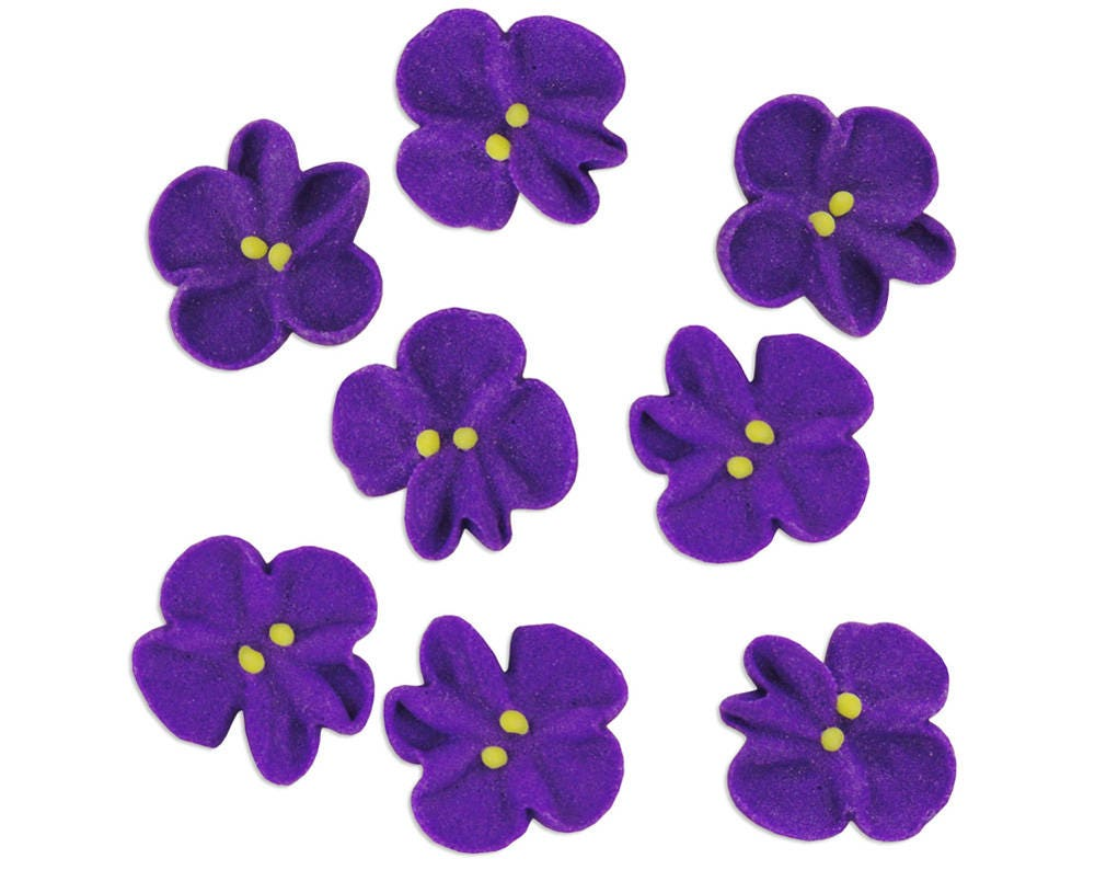 Violet Icing Flowers Edible Royal Icing Purple Flowers For Etsy