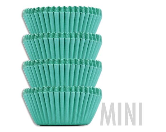 Mini Aqua Green Baking Cups - 50 solid turquoise mini paper cupcake liners