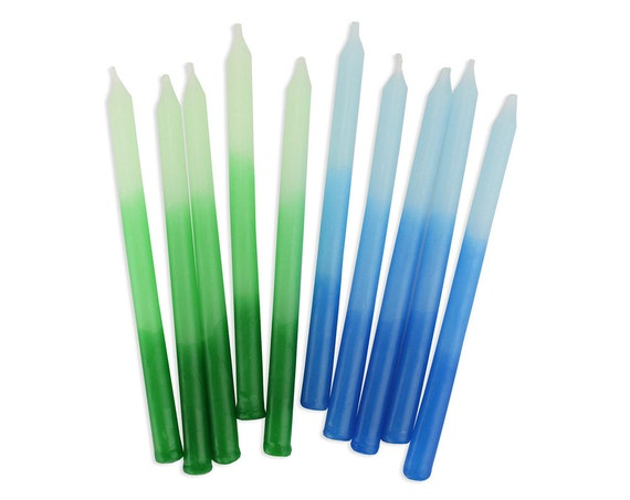 Green Blue Ombre Birthday Candles 12 Long Skinny Party