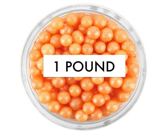 Pearly Orange Sugar Pearls - 1 Pound- edible shimmer bright orange sugar pearl sprinkles