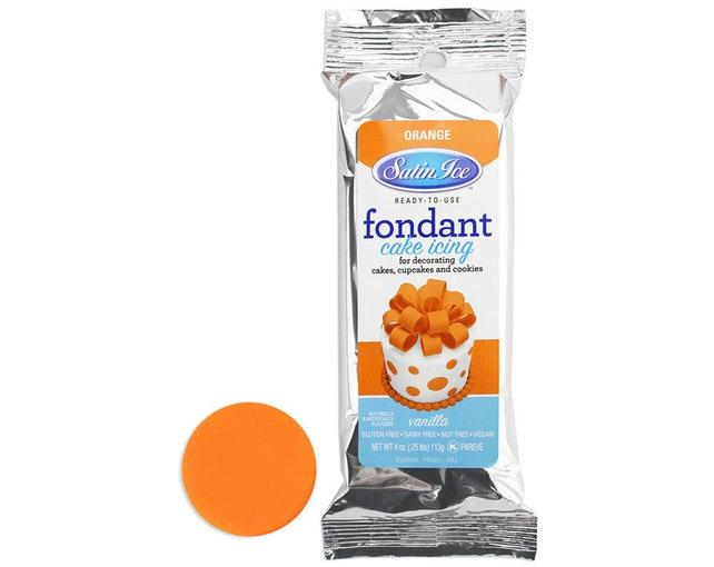 Orange Satin Ice Fondant 4 oz - bright orange fondant