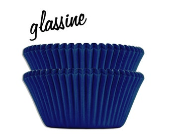 Blue Glassine Baking Cups - 50 solid royal blue paper cupcake liners