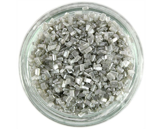 Pearly Silver Chunky Sugar - metallic silver sugar crystals sprinkles for decorating cupcakes, cakes, cakepops, and cookies