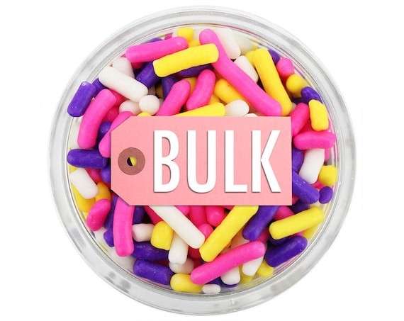 Unicorn Jimmies BULK (1LB) - fun pink, purple, yellow, white, sprinkles for decorating cupcakes, cakes, cakepops, cookies, and ice cream