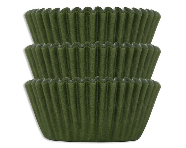 Olive Green Baking Cups - 45 solid dark paper cupcake liners