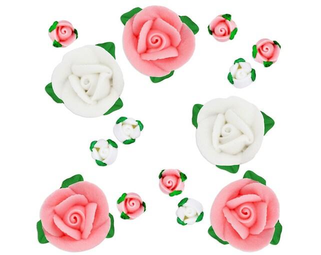 Rose bud icing flower assortment pastel pink sugar roses etsy image 0 mightylinksfo