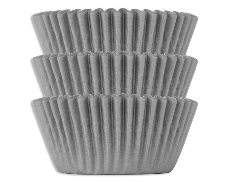 Solid Gray Shimmer Baking Cups  50 solid grey paper cupcake image 0