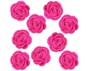 12 Hot Pink Fondant Tea Roses - hot pink edible sugar flowers for decorating cupcake, cakes, and cookies.