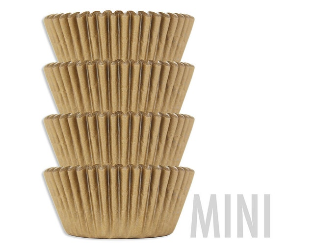 Mini Solid Golden Shimmer Baking Cups - 50 solid gold mini paper cupcake liners