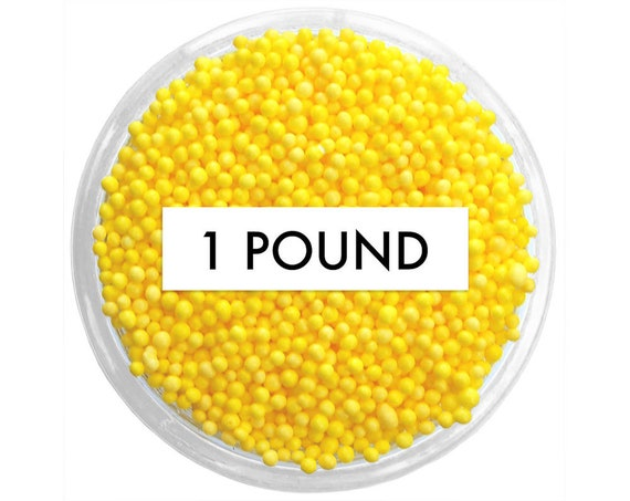 Yellow Non-Pareils BULK (1lb) - vibrant tiny yellow sprinkles for decorating cupcakes, cakes, cakepops, cookies, and ice cream
