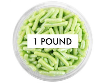 Pearly Green Jimmies - 1 Pound - pearly light green jimmies, pearlescent sprinkles for cakes, cookies and cupcakes