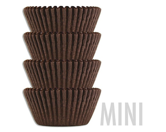 Mini Solid Deep Brown Baking Cups - 45 solid chocolate brown mini paper cupcake liners