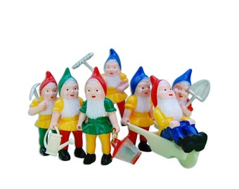Garden Gnome Toppers - miniature retro kitschy gnomes cupcake and cake toppers