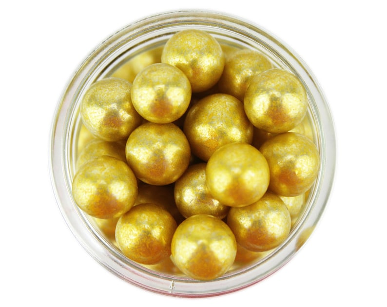 Gold Dragees 8mm 1oz  shiny metallic gold sugar pearls image 0