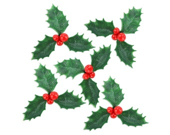Holly Picks - 12 vintage inspired holly picks for decorating christmas holiday cupcakes and cakes