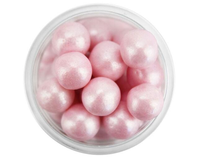 Pearly Light Pink Sugar Pearls 8MM - edible shimmer pearlescent pink sugar pearl sprinkles, large pink pearl sprinkles