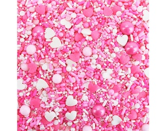 Sweetheart Sprinkle Blend- vibrant colored blend of pink and white sprinkles, non-pareils, jimmies, hearts, dots, pearly sugar, candy beads.