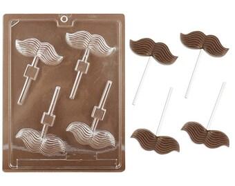 Mustache Lollipop Chocolate Mold - plastic candy making mustache mold