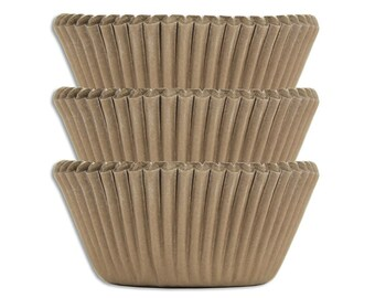 Natural Unbleached Baking Cups - 60 kraft brown paper cupcake liners