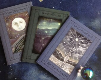 Notebooks 'for those who love the moon' x3. A6/C6 size/ moon dreamers /moon gazers/moon lovers/moon and hare/ 36 Plain Pages By Karen Davis