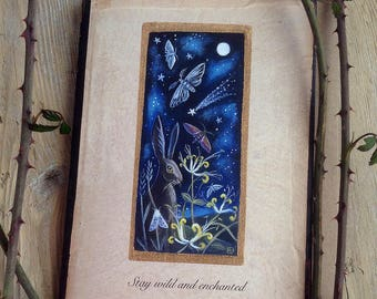 Stay wild and enchanted. Hare and Moth. Magical Greeting Cards x2 by Karen Davis