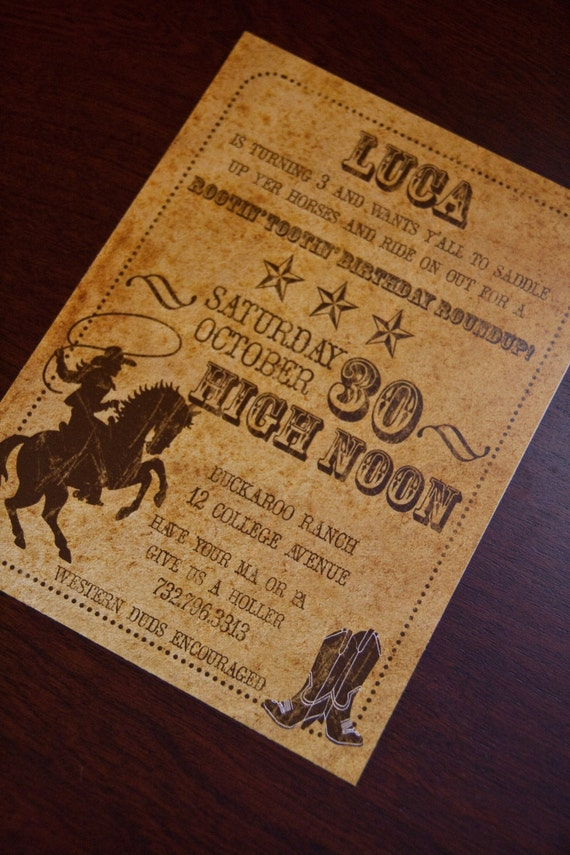 Vintage Inspired Cowboy Invitations