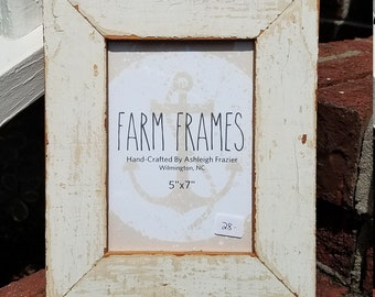 5 x 7 WHITE old vintage wood picture frame