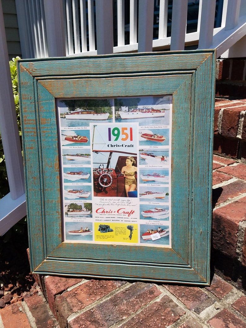 1951 CHRIS CRAFT boat ad copy in salvaged wood picture frame