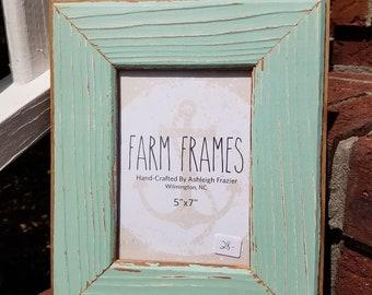 5 x 7 TEAL old vintage wood picture frame