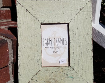 4 x 6 GREEN old vintage wood picture frame