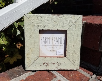 4 x 4 GREEN old vintage wood picture frame