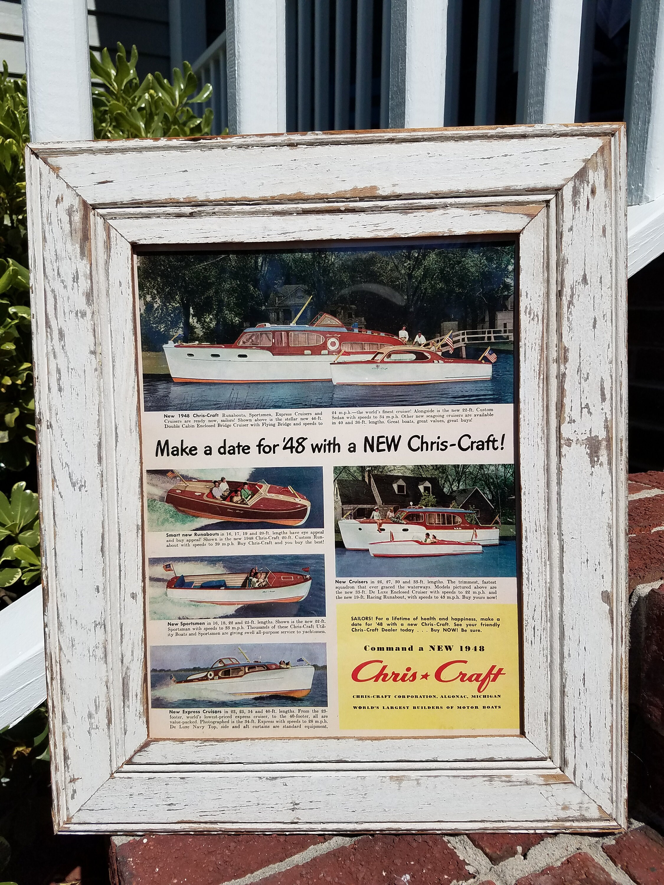1948 CHRIS CRAFT boat ad copy in salvaged wood picture frame