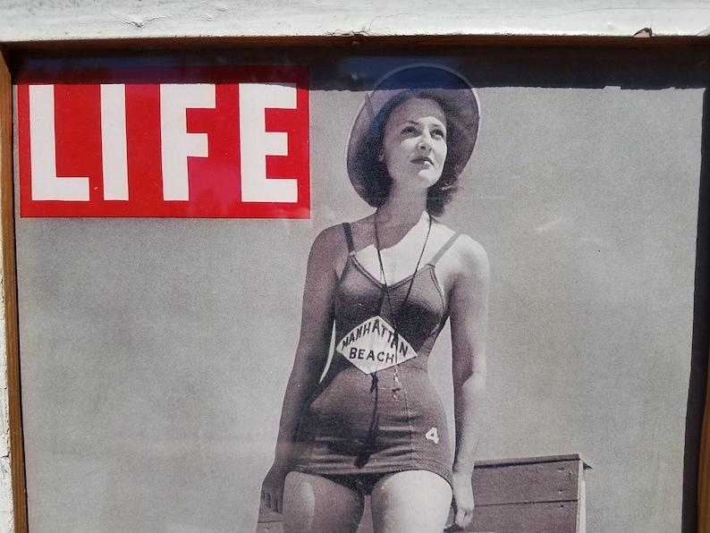 LIFEGUARD LIFE magazine print in salvaged wood frame