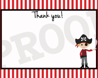 Printable Party Thank You cards - Pirate Party Thank You cards - Pirate Party Printables
