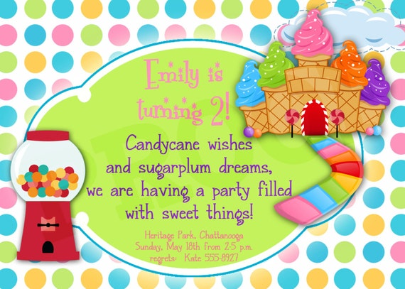 Printable Candyland Birthday Printable Invitation Girl Party