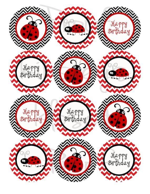 image regarding Ladybug Printable named Crimson and black Ladybug Bash Cupcake Toppers - Woman bug