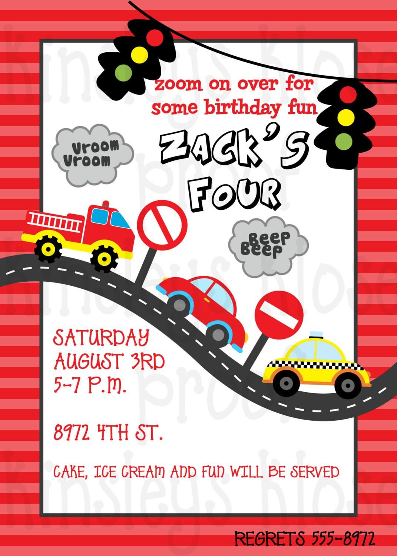 Transportation Birthday Party Invitation Cars Trains | Etsy