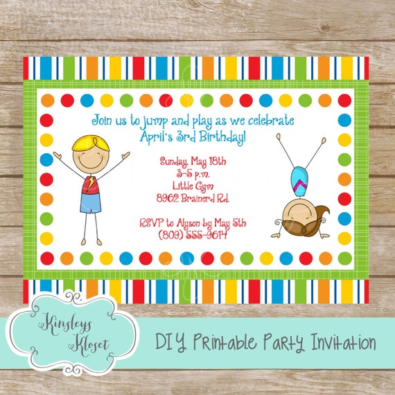 Gymnastics Party Invitation Birthday Favor Printable
