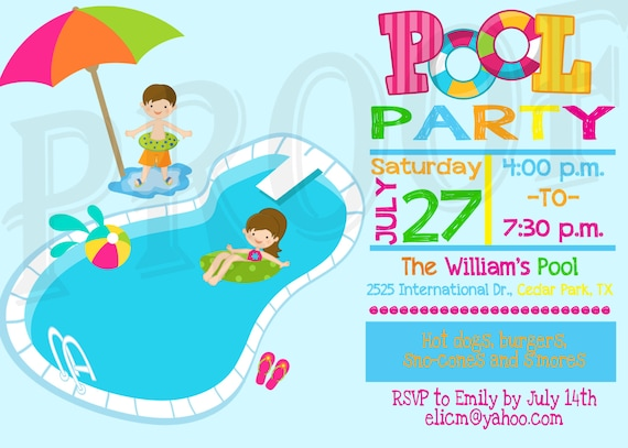 pool party invitation pool party decoration kids pool party etsy