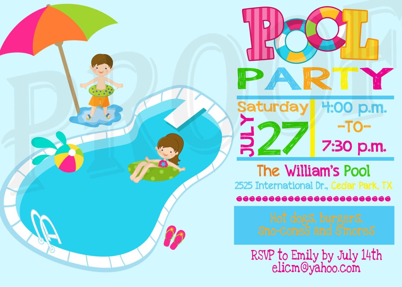 Invitación de fiesta invitación piscina decoración niños   Etsy