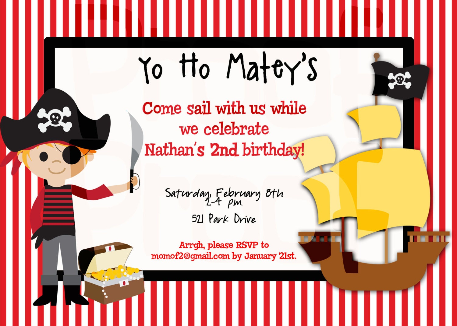 Pirate Party Birthday Invitation Pirate Birthday Party | Etsy