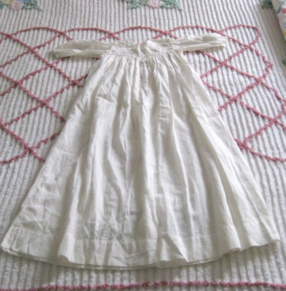 Vintage Off White Cotton Christening Baptism Gown