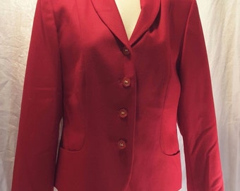 367f91f777 Vintage 1980s Pendleton Wool Women s Jacket  80 s Power Red sz 8 made in USA