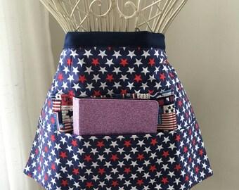 fae389e4e99 iPad Vendor Apron Craft Art Teacher Red White Blue American Flag Americana  Fabric (4 Pockets)