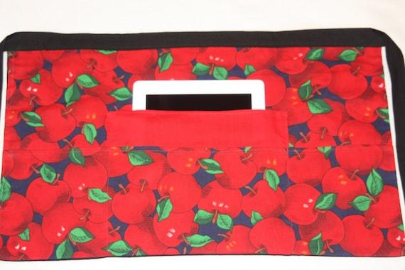 4 Pockets Vendor Half Apron Waist Craft Teacher Art iPad Colorful Red Pink Hearts Fabric