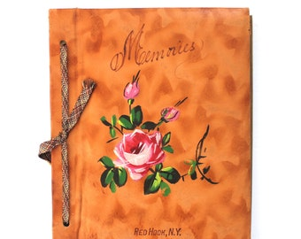Unused Leather Bound Wedding Album with Vintage Illustrations and Scrapbook Section