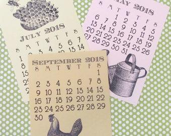 Printable Vintage Garden 2018 5x7 Calendar mini digital desktop