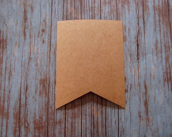 Brown Kraft Canape Paper Food Craft Flags Pack of 10 Party Wedding